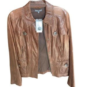 Vince Brown Leather Jacket with Buttons